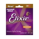 Elixir Nanoweb Phosphor Bronze Guitar Strings Custom Light
