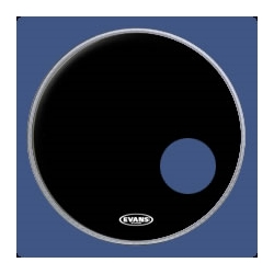 "Evans 22"" EQ3 Resonant Black Bass Drum Head w/Hole"